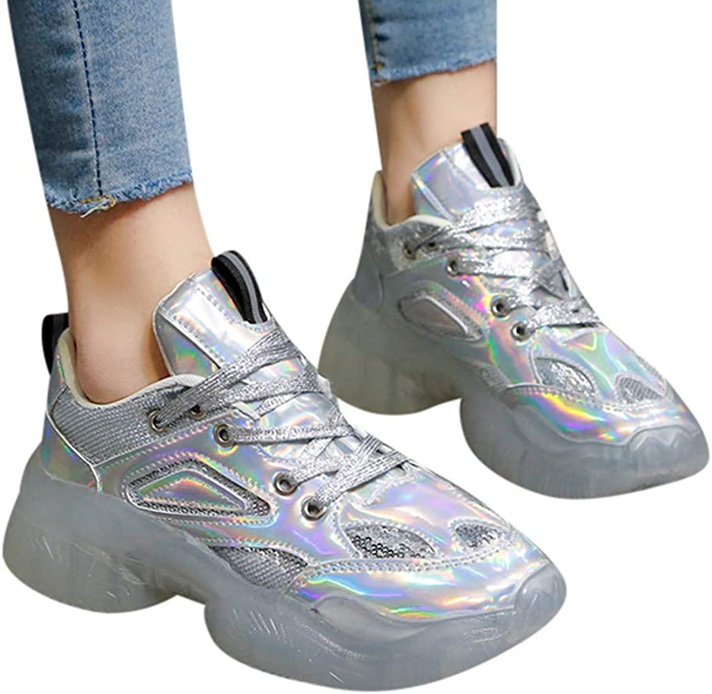 Metallic PU Leather 2019 Winter-Fall Jelly Sneakers Women の Casual Running Shoes Chunky Clear PVC Sole Starry Sequin