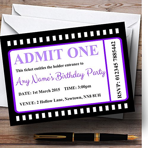 Movie Ticket Purple Personalized Birthday Party Invitations by The Card Zoo