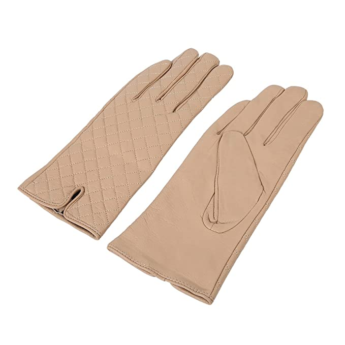 7fc07baa9 Elegant Women's Quilted Solid Winter Thermal Soft Leather Gloves, ...