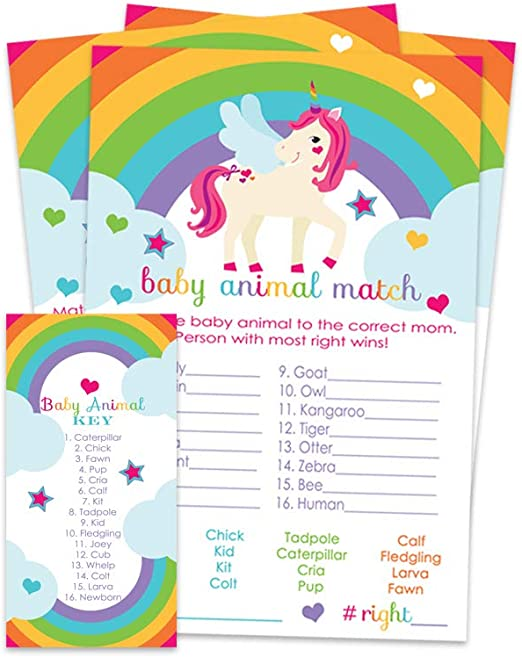 Pack of 25 Gender Reveal Name the Baby Animal Shower Game