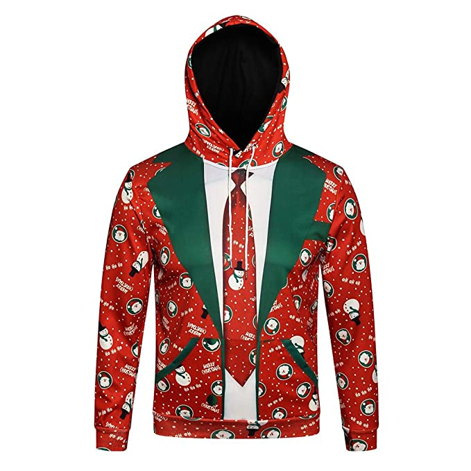 cd7dc001 Xturfuo Men's Fashion Autumn and Winter 3D Print Christmas Christmas Hooded  Long Sleeve Turtleneck Sweater