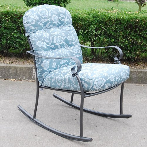 Willow Springs 3 Piece Rocking Chairs Table Outdoor Furniture Bistro Set, Blue, Seats 2