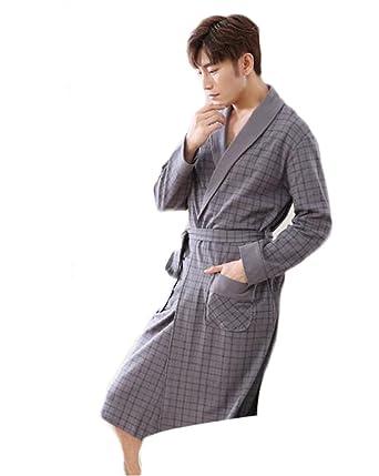 Albornoz de los hombres/Fashion Plaid Nightgown/Ropa de casa cómoda y cálida Pijamas de algodón: Amazon.es: Ropa y accesorios