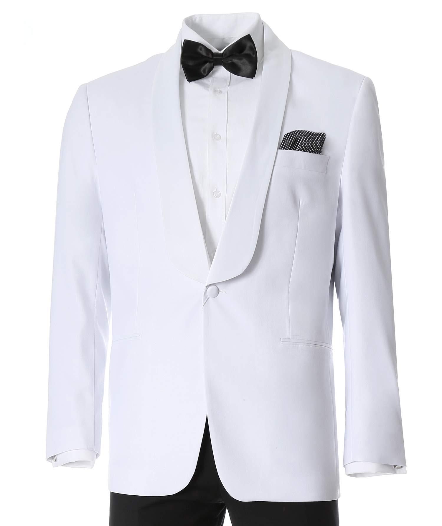 Ferrecci Men's Echo White Slim Fit Shawl Lapel Tuxedo Dinner Jacket (50 Regular) by Ferrecci