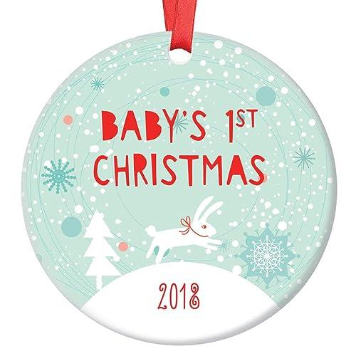 bunny babys 1st christmas ornament 2018 winter rabbit babys first christmas baby boy 3quot - Baby Boy First Christmas Ornament