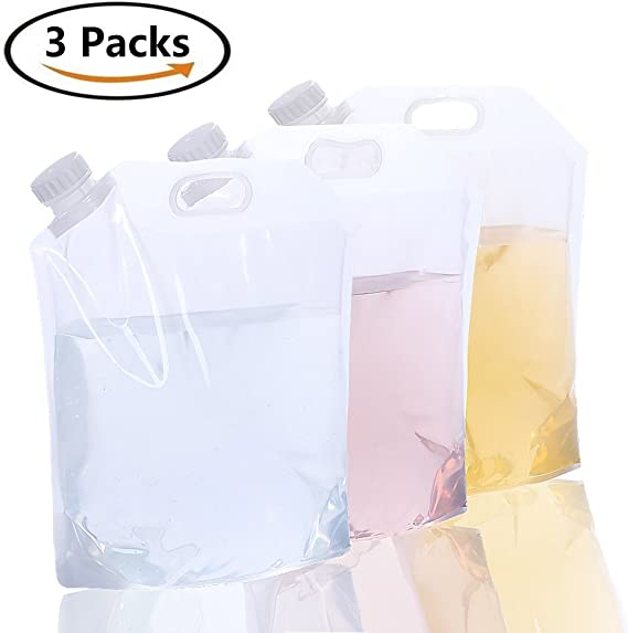 AMACASE [3 Packs] 1.25 Gallon Collapsible Water Container,Collapsible Water Bottle,Collapsible Water Jug,BPA Free Water Canteen,for Backpacking Hiking Camping and Hurricane Flood Earthquake