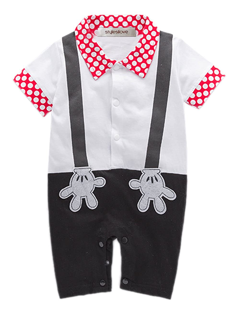 88ad6233b622 Baby boy mickey mouse short sleeve faux suspender costume romper for photo  prop