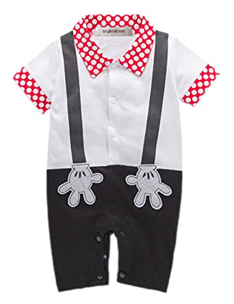 8d5cd5df6 Amazon.com: stylesilove Baby Boy Mickey Mouse Inspired Onesie Costume  Romper: Clothing