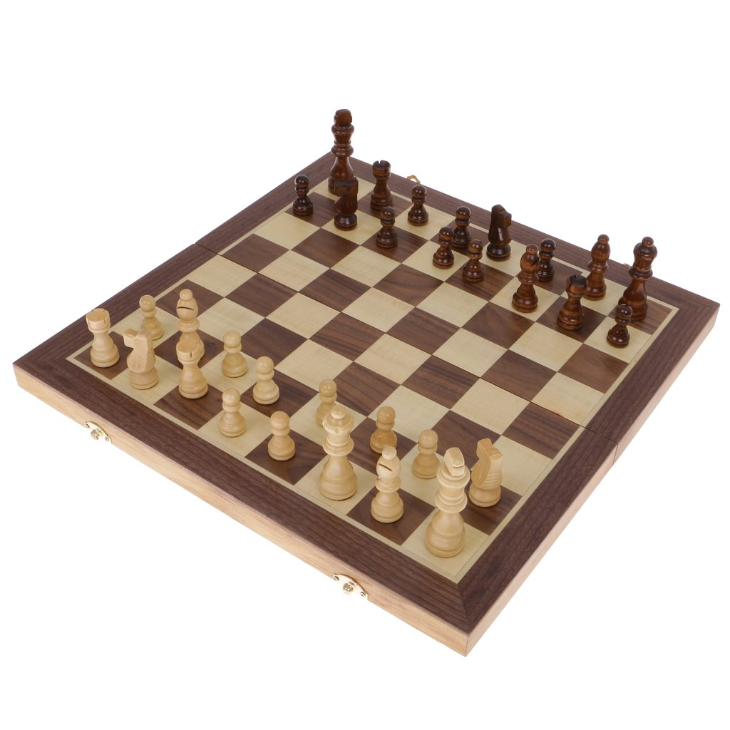 Gazechimp Bewegliches Hölzernes Faltendes Magnetic Schachbrett Schach Set Kind-Geschenk 29.5cm / 39.5cm / Tragbar und Haltbar - 39.5cm