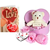 Sky Trends Fabric Heart-Shaped Box with Teddy and Roses and Wooden Keychain with Greeting Card(Pink)