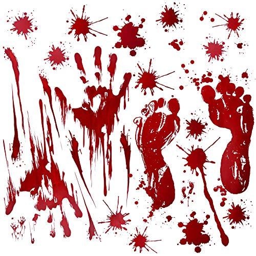 Fantech 86PCS Halloween Party Indoor Decorations, Halloween Window Stickers Clings Decals Horror Bloody Handprints?Footprints Stickers Halloween Decor Vampire Zombie & Horror Bathroom Party Decorat