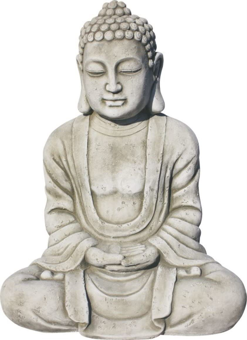 AnaParra Estatua Buda Tissa delÉxito Figura Decorativa para Jardín o Exterior Hecho de Piedra Artificial   Figura Buda 57cm, Color Natural Musgo