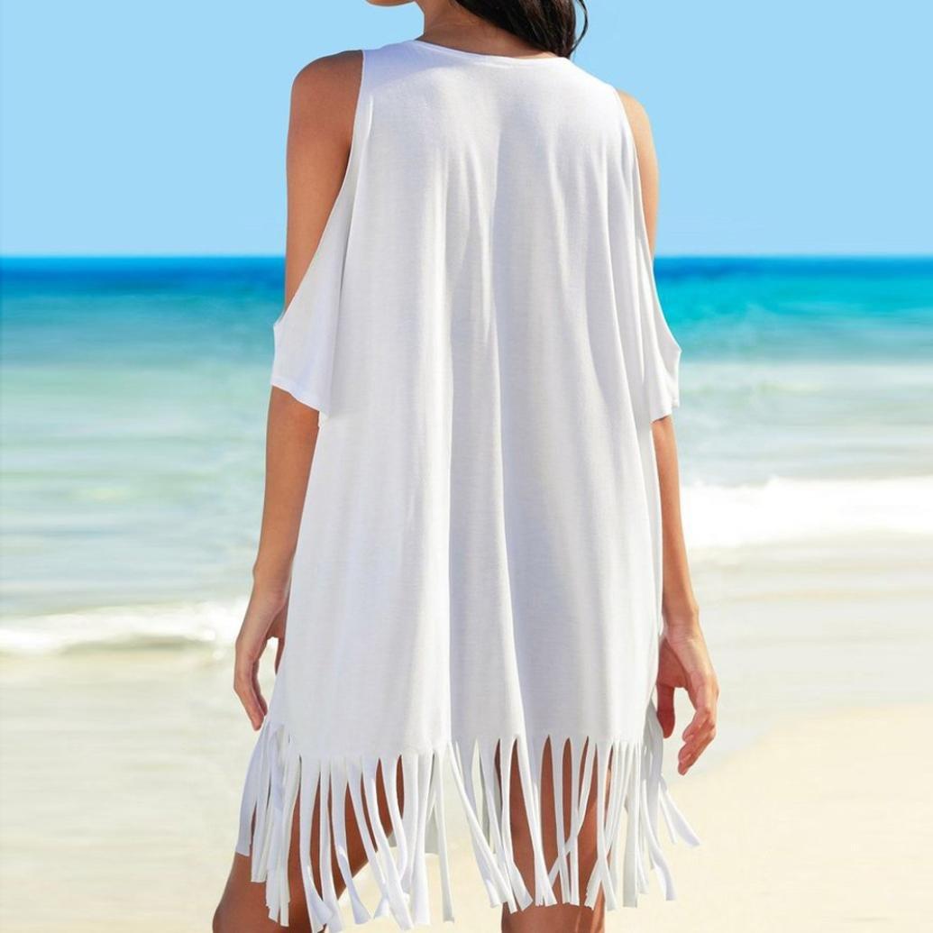 Yvelands Damen Sommer Tassel Letters Print Baggy Bademode Bikini Cover-UPS Strandkleid