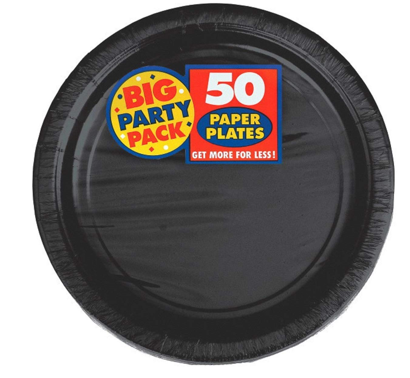 Amscan Big Party Supplies Pack Black Color Bundle set for 50 Guests 9'' Dinner Paper Plates, 7'' Luncheon Paper Plates and, 2-ply Luncheon Napkins with a Complementary Recipe Card by Delexiana (Image #2)