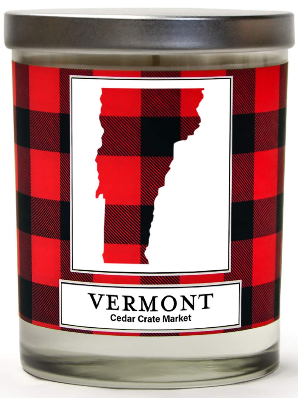 Vermont Buffalo Plaid Scented Soy Candle | Fraser Fir, Pine Needle, Cedarwood | 10 Oz. Glass Jar Candle | Made in The USA | Decorative Candles | Going Away Gifts for Friends | State Candles