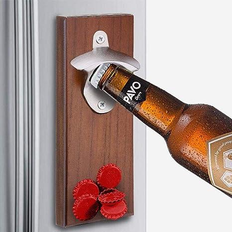 Amazon.com: KOBWA Abridor de botellas de madera con tapón de ...