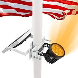 APONUO Solar Flag Pole Light, Flagpole Light Solar Powered Upgraded Bracket Design Fits 1.4-3' Flag Pole 2 Brightness Auto On/Off IP65 Waterproof for Night Lighting Landscape Flag Patio(Warm White)