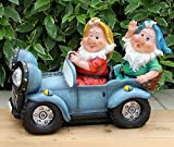 Wonderland Two Gnome Sitting in car solar light (Garden decor lights or home decoration , gifting , gift , balcony garden decor, solar lights outdoor)