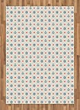 Anchor Area Rug by Ambesonne, Cute Maritime Pattern with Sea Icons and Little Red Hearts Romance Love Ocean, Flat Woven Accent Rug for Living Room Bedroom Dining Room, 5.2 x 7.5 FT, Blue Red Cream