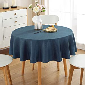 Pahajim Table Cloth Solid Color Cotton Line Tablecloth Round Table Cloths Wrinkle Free Table Cover Burlap Waterproof Tablecloths for Kitchen Dinning Table Party Decoration(55 inch Round)