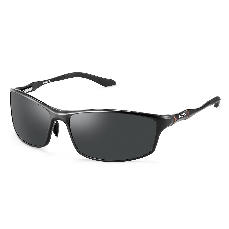 SOXICK Men's Stylish Driving Polarized Sunglasses Sports Sunglasses for Men Al-Mg Metal Frame (Black2)