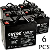Electric Mobility 265LE Candy Apple 12V 35Ah SLA Sealed Lead Acid AGM Rechargeable Replacement Battery Genuine KEYKO (W/ L2 Nut & Bolt Terminal) - 6 Pack