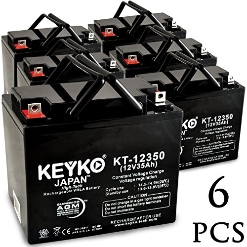 AAA Robo Chair Seguay 3000 12V 35Ah SLA Sealed Lead Acid AGM Rechargeable Replacement Battery Genuine KEYKO (W/ L2 Nut & Bolt Terminal) - 6 Pack by KEYKO