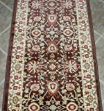 """101151 - Rug Depot Traditional Oriental Stair Runner Remnant - 26"""" x 22' - Brown Background - Dynamic Yazd 2803-610 - Hall Runner ON SALE - FREE Serging Applied on Ends - Rug Runner is Machine-Made of 100% Polypropelene - Less Than 500,000 Points - T-4 Quality Rating - Custom Stair Runners and Hall Runners with Matching Area Rugs"""