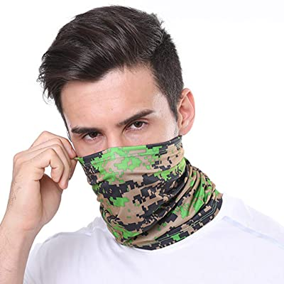 Fitfulvan Outdoor Sports Dust Protection Windproof Bandana Face Mask Neck Gaiter Magic Scarf Balaclava Face Cover Scarf (Green) at Men's Clothing store
