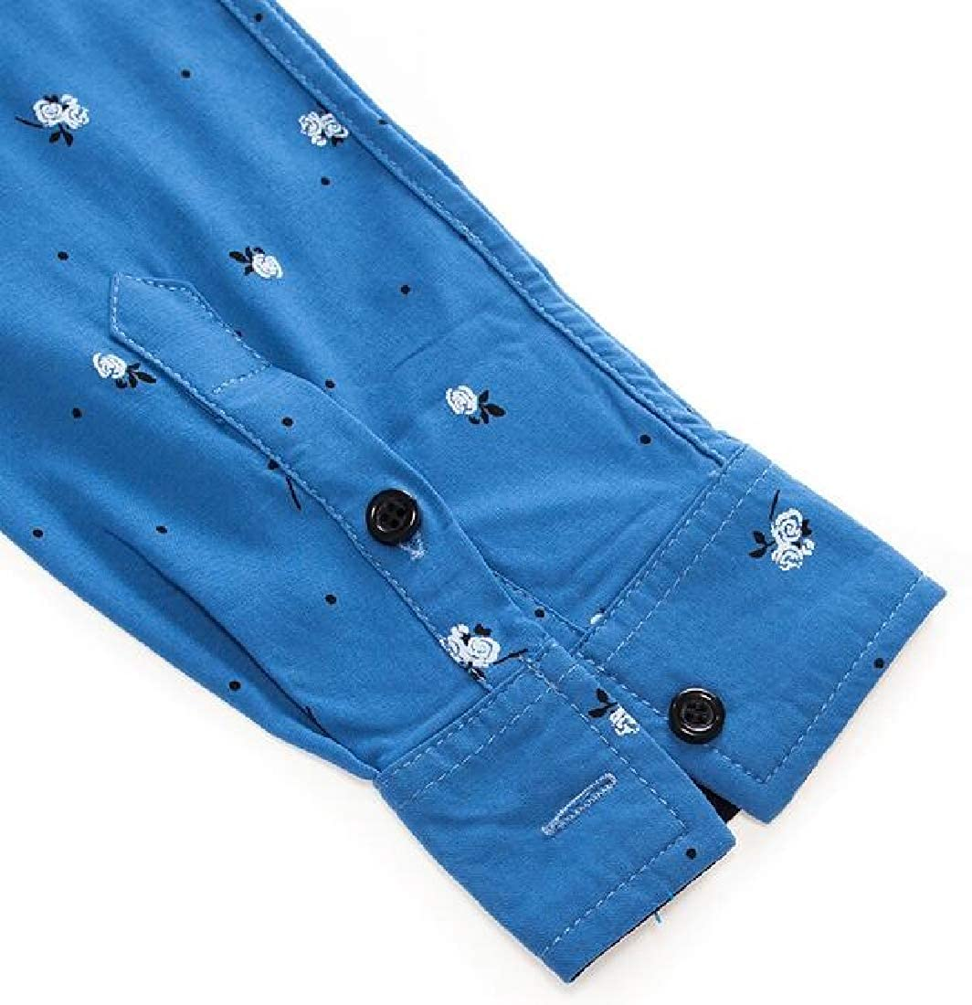 ARTFFEL Mens Casual Slim Fit Long Sleeve Cotton Printed Business Button Up Dress Work Shirt