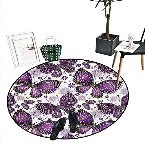 Natural Round Small Door Mat Ethnic Asian Butterflies with Paisley Motif on Wings Flowers Art Print Indoor/Outdoor Round Area Rug (2' Diameter) Plum Purple Lilac White