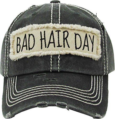 H-212-BHD06 Distressed Baseball Cap Vintage Dad Hat - Bad Hair Day Patch (Black) ()