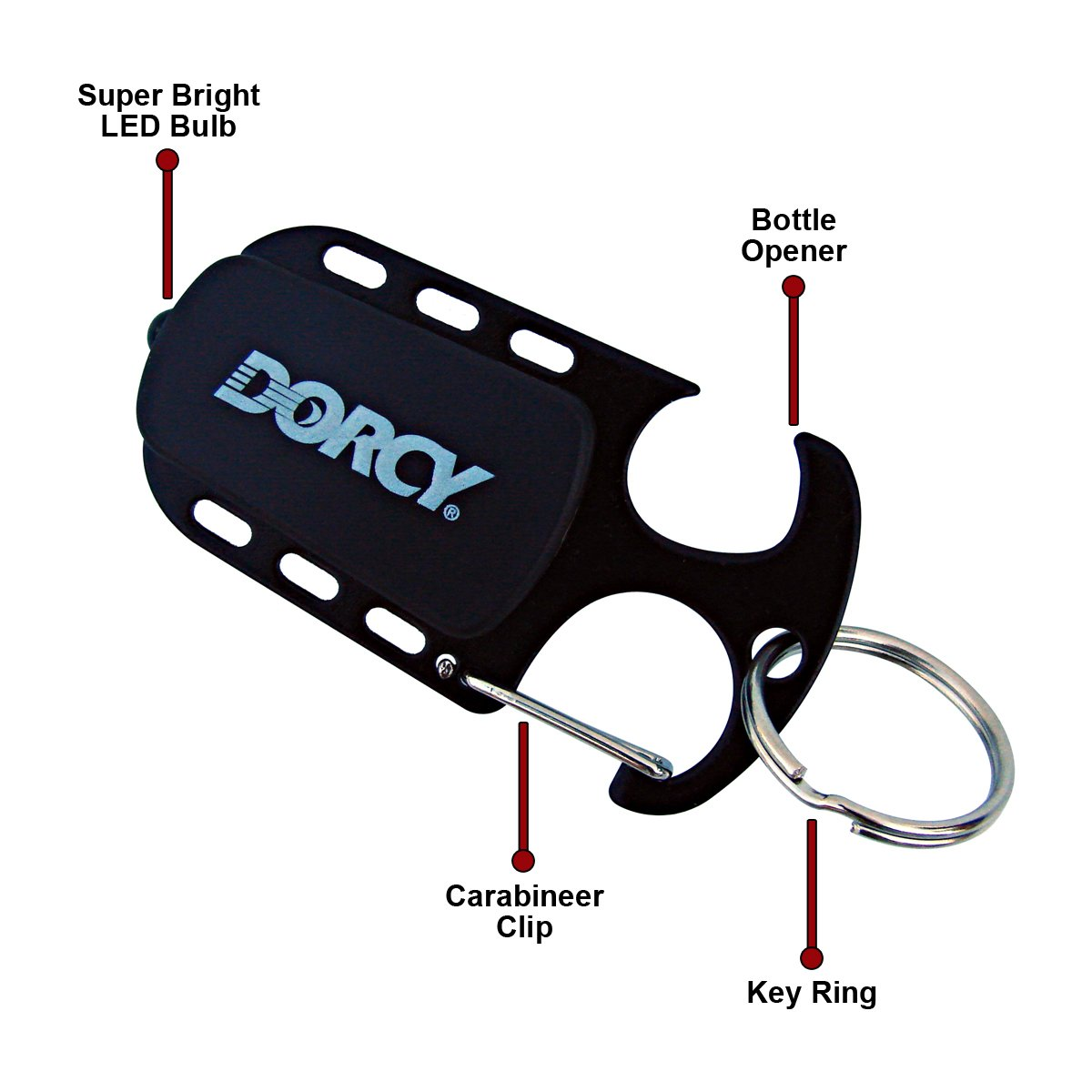 11-Lumens Dorcy 41-1411 Carabineer Clip Keychain LED Flashlight with Bottle Opener Assorted Colors