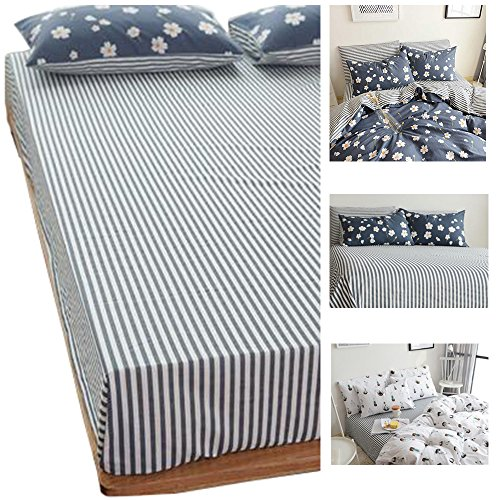 (HIGHBUY 100% Soft Cotton Fitted Sheet King Size Stripe Deep Pocket Wrinkle Free Bedding Collection King Bed Sheet)