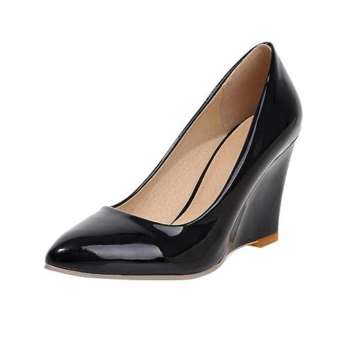 cbfd610b62f345 YE Damen Keilabsatz Lackleder Pumps Spitze High Heels mit Absatz 8cm  Elegant Schuhe