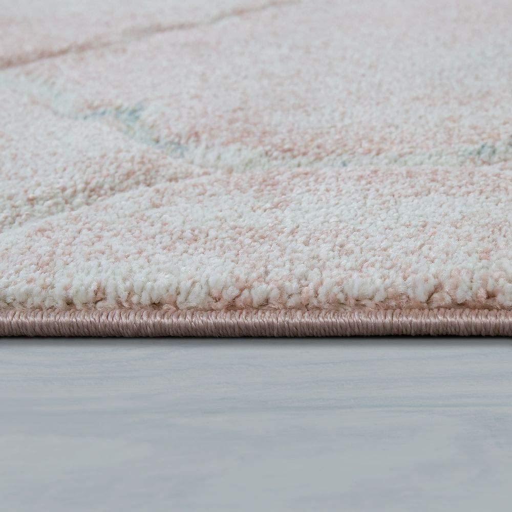 Dimension:80x150 cm Paco Home Tapis De Salon Poils Ras Rose Couleurs Pastel Design Marbre Chin/é Motif 3D