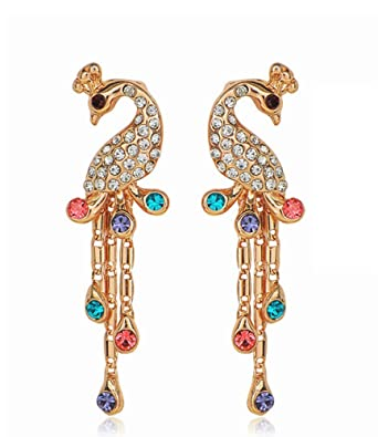 Celebrity Jewellery KC Gold Plated Peacock Shaped Austrian Crystal Colorful Style Jewelry for Women 22Oo4Q