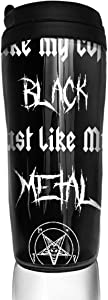 BaboLye I Like My Coffee Black Just Like My Metal ABS Travel Coffee Mugs With QuickSeal Lid Insulated 12 OZ Double Wall Water Coffee Cup