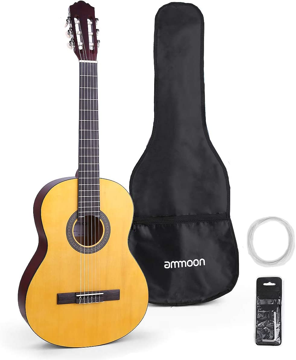 ammoon 39 Inch Guitarra Clásica, Guitarra Clásica Redondeada, Usando Cuerdas de Nylon y Cuerdas de Acero, con Bolso