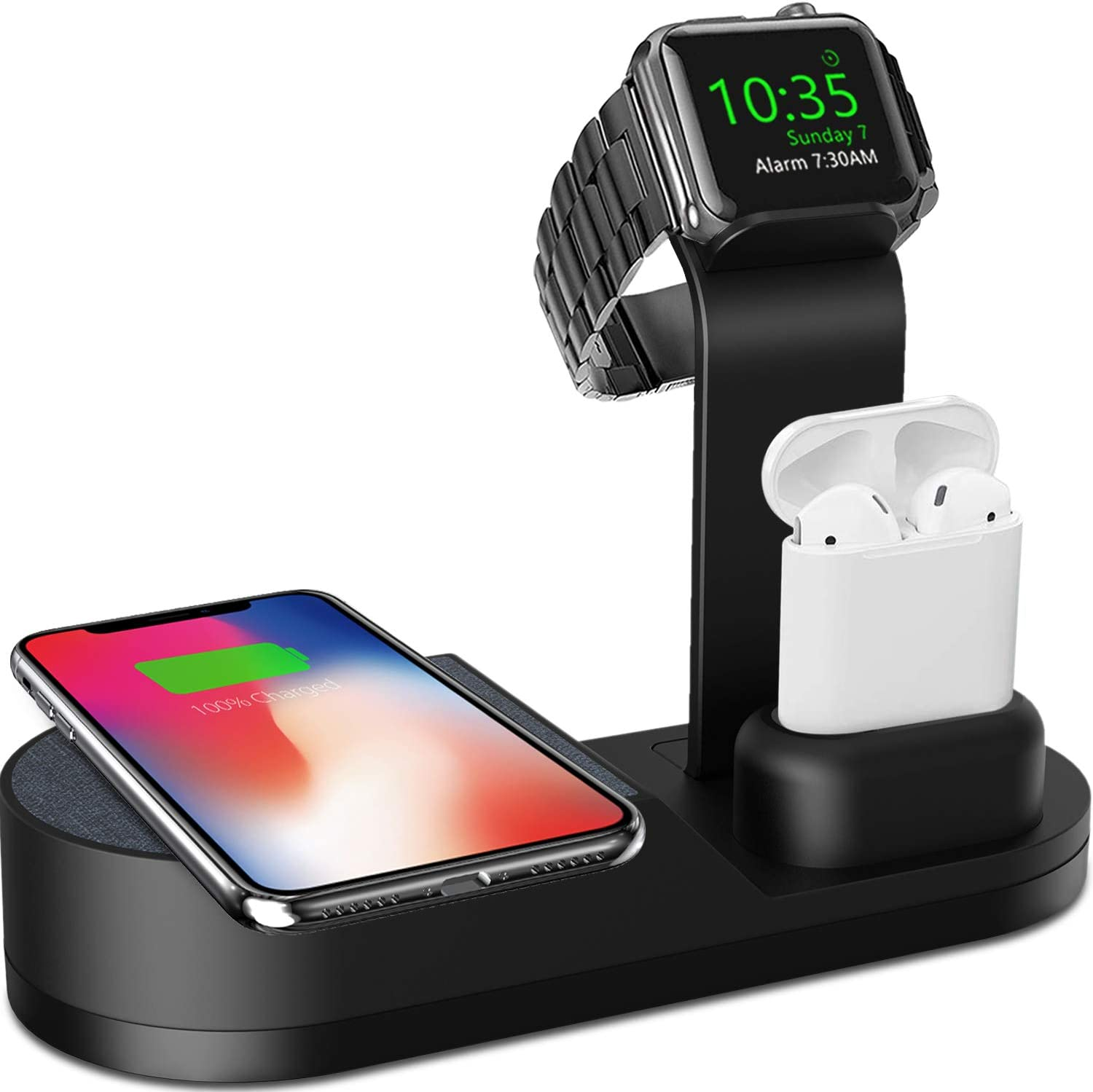 Deszon Wireless Charger Designed for Apple Watch Stand Compatible with Apple Watch Series 5 4 3 2 1, AirPods 1 Airpods 2 and iPhone 11 11 pro 11 Pro Max Xs X Max XR X 8 8Plus (No Adapter) Black