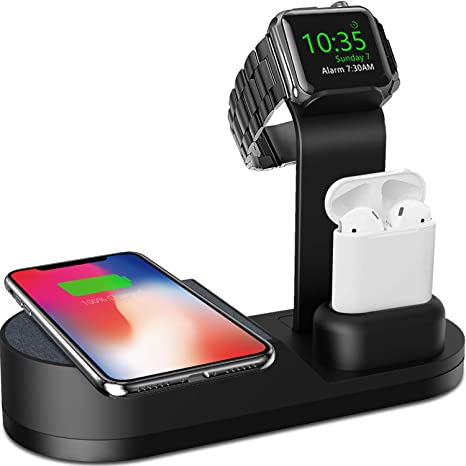 Deszon Wireless Charger Designed for Apple Watch Stand Compatible with Apple Watch Series 5 4 3 2 1, AirPods Pro Airpods and iPhone 11 11 pro 11 Pro ...