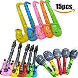16PCS Inflatables Saxophone Microphone Guitar Props Balloons Party Supplies Musical Instruments Accessories Toys for Party Favors with Pump