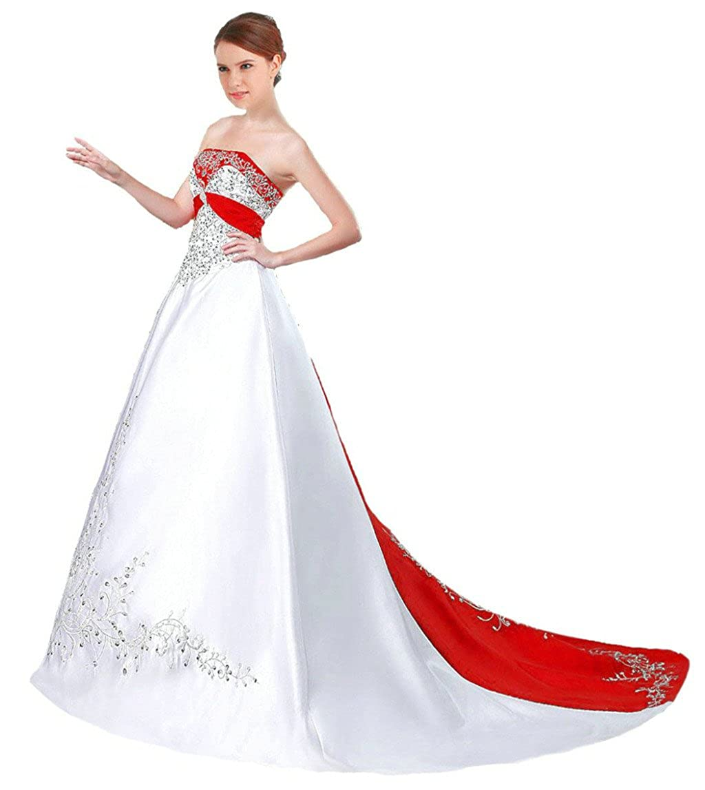 White & Red Vantexi Women's Satin Embroidery Wedding Dress Bridal Gown
