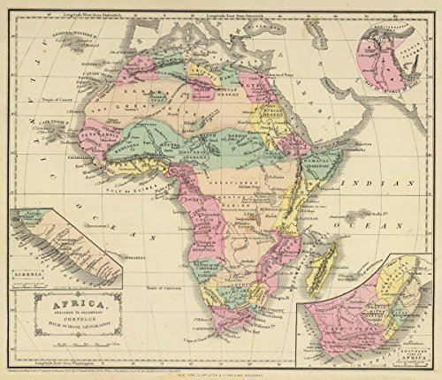 1864 School Atlas | Africa. Designed to accompany Cornell's High school geography. (with) Map of Isthmus of Suez. (with) Liberia. (with) Southern part of Africa. | Antique Vintage Map Reprint - Cornell 1864 Antique Map