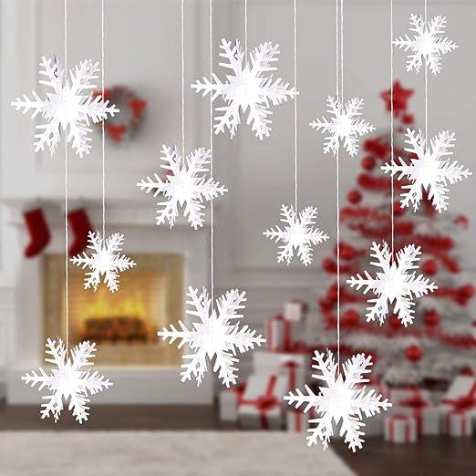 Hallo 5 Pcs Christmas Snowflake Decorations 5D Snowflake Garland - Paper  Hanging Snowflakes Ornaments Decorations Winter Wonderland Christmas Party