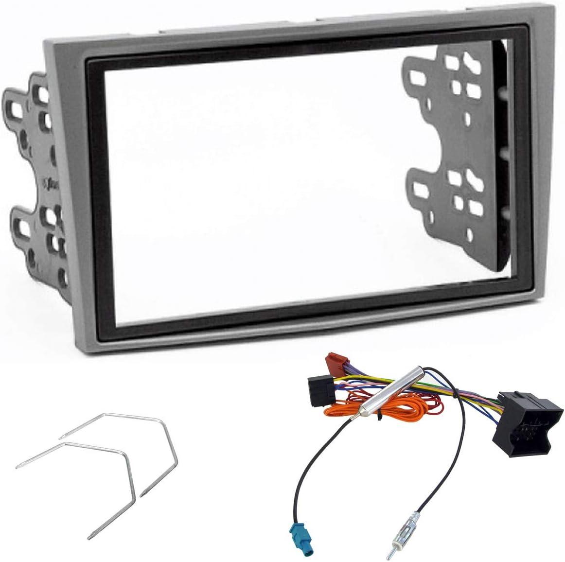 Sound-way Kit Montaje Autoradio, Marco 2 DIN Radio para Coche, Adaptador Antena, Llaves Desmontaje, Cable Adaptador Conector ISO, Compatible con Opel ...
