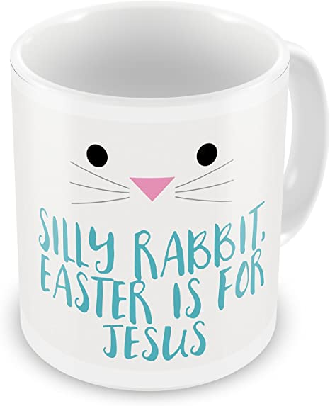 Silly Rabbit Easter Is For Jesus Ceramic Mug Yellow White 16 oz Glory Haus NEW