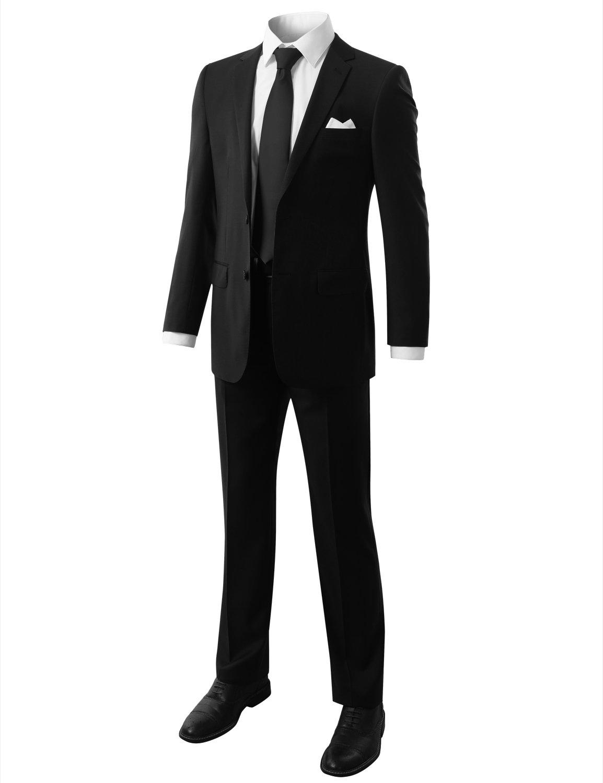 MONDAYSUIT Men's Modern Fit 2-Piece Suit Blazer Jacket & Trousers BLACK 50R 45W by MONDAYSUIT (Image #7)