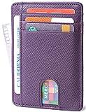 Slim Minimalist Front Pocket RFID Blocking Leather Wallets for Men & Women (Cross Purple)