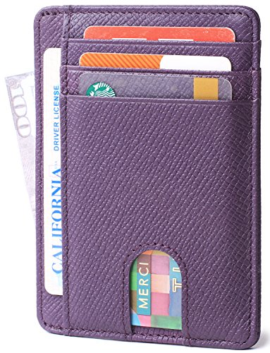 Minimalist Blocking Leather Wallets Purple